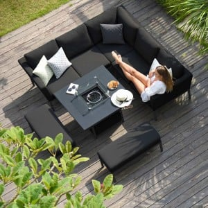 Maze Lounge Outdoor Fabric Pulse Charcoal Square Corner Dining Set with Fire Pit