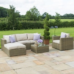 Maze Rattan Garden Furniture Winchester Square Corner Group Sofa with Chair Set