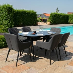 Maze Lounge Outdoor Fabric Zest Charcoal 6 Seat Oval Dining Set