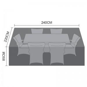 Nova Garden Furniture Black 6 Seat Rectangular Dining Set Cover