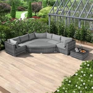 Nova Garden Furniture Hampton Grey Rattan Deluxe Corner Sofa Set with Coffee Table