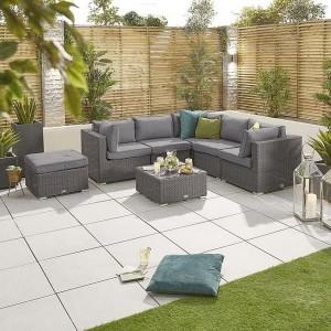 Nova Garden Furniture Chelsea Slate Grey Rattan Corner Sofa Set with Coffee Table