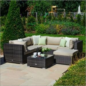 Nova Garden Furniture Chelsea Brown Rattan Corner Sofa Set with Coffee Table