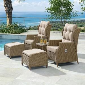 Nova Garden Furniture Skylar WillowRattan Reclining Armchair Lounge Set
