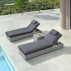 Nova Garden Furniture Rhodes Rattan White Wash Sun Lounger Set