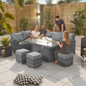 Nova Garden Furniture Cambridge Grey Rattan Left Hand Corner Dining Set with Fire Pit Table