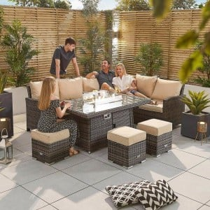 Nova Garden Furniture Cambridge Brown Rattan Right Hand Corner Dining Set with Fire Pit Table