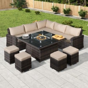 Nova Garden Furniture Cambridge Brown Rattan Deluxe Corner Dining Set with Fire Pit Table