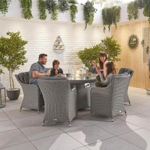 Nova Garden Furniture Camilla White Wash Rattan 6 Seat Round Dining Set with Fire Pit - PRE ORDER