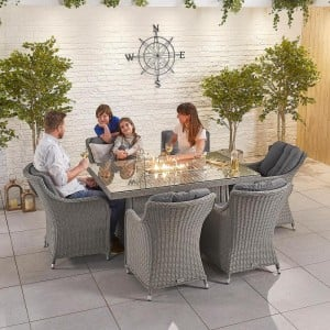 Nova Garden Furniture Camilla White Wash Rattan 6 Seat Rectangular Dining Set with Fire Pit - PRE ORDER