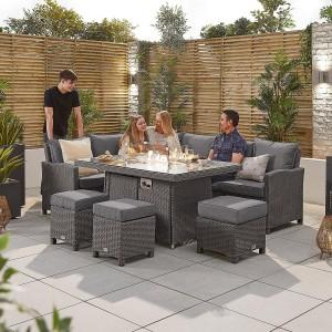 Nova Ciara Slate Grey Rattan LH Corner Dining Set with Fire Pit