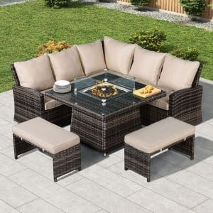 Nova Garden Furniture Cambridge Brown Rattan Corner Dining Set with Fire Pit Table
