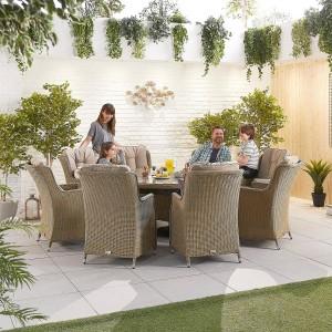 Nova Garden Furniture Thalia Willow Rattan 8 Seat Round Dining Set