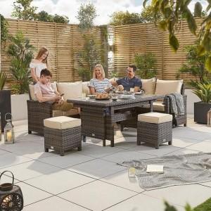 Nova Garden Furniture Cambridge Brown Rattan Right Hand Corner Dining Set with Extending Table