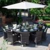 Nova Garden Furniture Amelia Brown Weatherproof PE Synthetic Rattan 10 Seat Round Dining Set