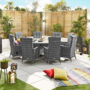 Nova Garden Ruxley Grey Rattan 8 Seat Round Dining Set