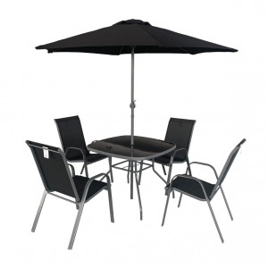 Royalcraft Rio 4 Seater Stacking Dining Set including parasol