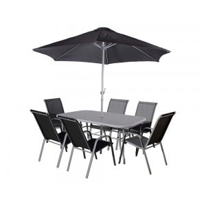 Royalcraft Rio 6 Seater Stacking Dining Set including parasol