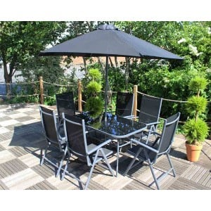Royalcraft Rio 6 Seater Recliner Dining Set including parasol