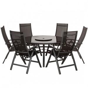 Royalcraft Metal Garden Sorrento Black 6 Seater Round Deluxe Recliner Dining Set