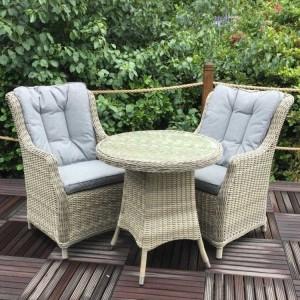 Royalcraft Garden Furniture Wentworth 2 Seater Highback Comfort Round Bistro Set