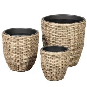Royalcraft Garden Furniture Genoa Set of 3 Rattan Weave Round Planters