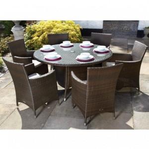 Royalcraft Garden Cannes Mocha Brown 6 Seat Round Dining Set