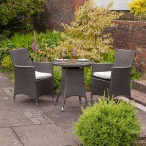 Royalcraft Garden Furniture Cannes Mocha Brown 2 Seater Bistro Set