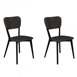 Vintage Weathered Oak Dining Furniture Dark Grey Upholstered Chair Pair