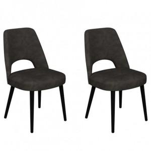 Vintage Weathered Oak Upholstered Dark Grey Fabric Dining Chair Pair