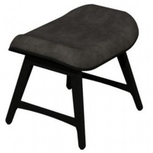 Vintage Weathered Oak Dining Furniture Dark Grey Fabric Footstool