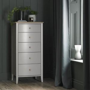 Whitby Scandi Oak Furniture Grey 5 Drawer Tall Chest