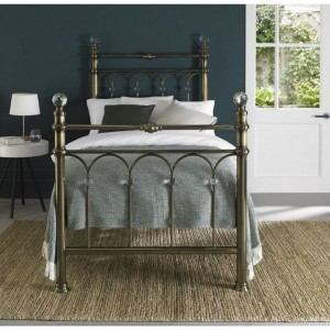 Bentley Designs Krystal Metal Furniture Antique Brass 3ft 90cm Single Bedstead