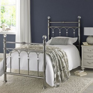 Bentley Designs Krystal Metal Furniture Antique Nickel 3ft 90cm Single Bedstead