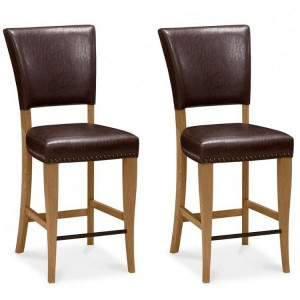Bentley Designs Belgrave Espresso Faux Leather Upholstered Bar Stool Pair