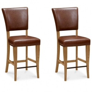 Bentley Designs Belgrave Tan Faux Leather Upholstered Bar Stool Pair