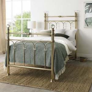 Bentley Designs Krystal Metal Furniture Champagne Brass 3ft 90cm Single Bedstead