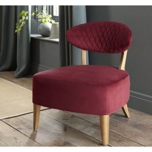 Margot Living Room Furniture Crimson Velvet Fabric Casual Chair