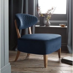 Margot Living Room Furniture Dark Blue Velvet Fabric Casual Chair