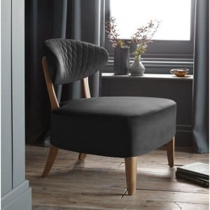 Margot Living Room Furniture Gun Metal Velvet Fabric Casual Chair