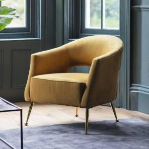 Gallery Direct Furniture Barletta Armchair Gold Velvet