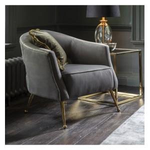 Gallery Direct Furniture Barletta Armchair Grey Velvet