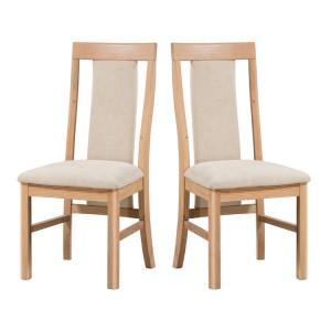 Devonshire Copenhagen Oak Furniture Padded Dining Chair Pair