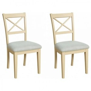 Lundy Painted Oak Furniture Cross Back Dining Chair Pair