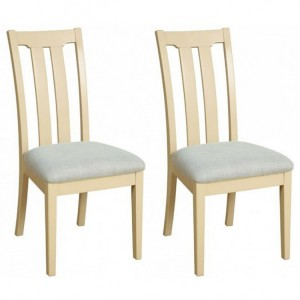 Lundy Painted Oak Furniture Slat Back Dining Chair Pair