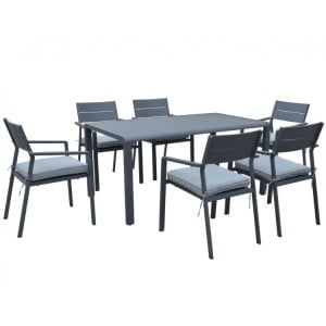Maze Rattan Verona Grey Rectangular Dining Set With 6 Chairs