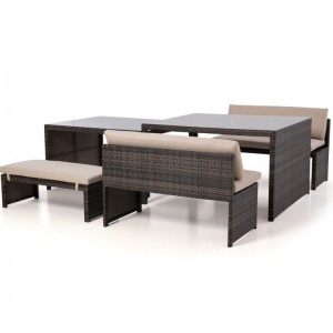 Maze Rattan Lyon Brown Sofa Garden Dining Set