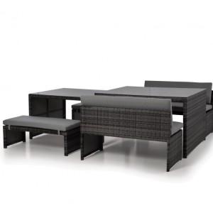 Maze Rattan Lyon Grey Sofa Garden Dining Set