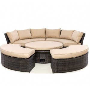 Maze Rattan Chelsea Garden Furniture Brown Sofa Set & Polywood Table Top
