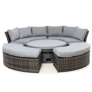 Maze Rattan Chelsea Garden Furniture Grey Sofa Set & Polywood Table Top